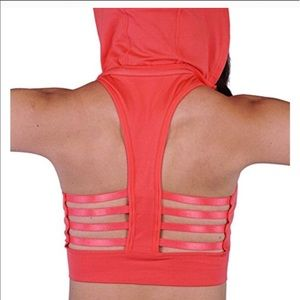 Intimates & Sleepwear - Hooded coral caged back sports bra